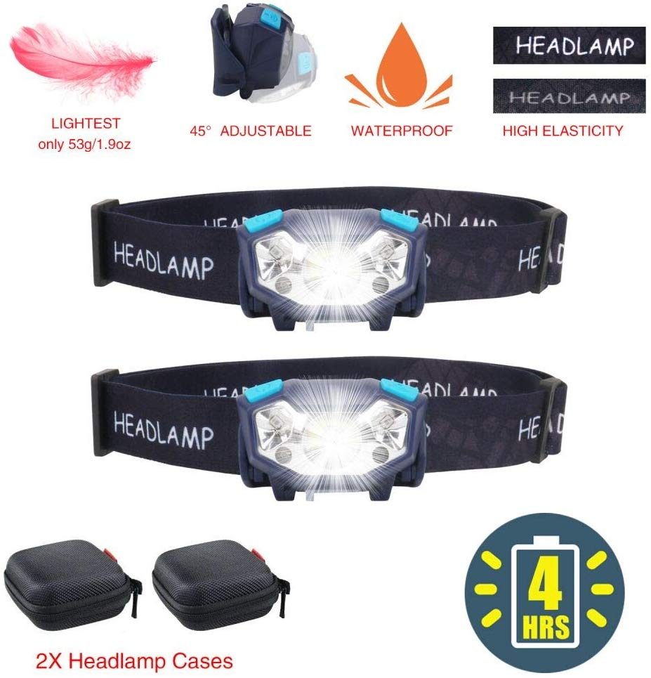 2 Pack Rechargeable Headlamps Flashlights