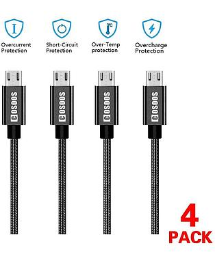 4 Short Micro USB Android Charger Cables